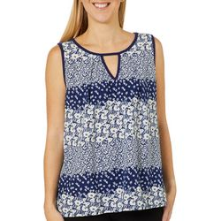 Dept 222 Womens Floral Print Keyhole Sleeveless Top