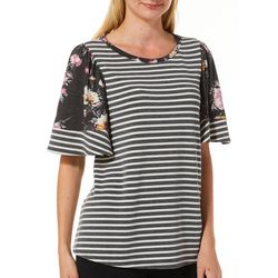 Dept 222 Womens Ruffle Floral Stripe Cap Sleeve Top