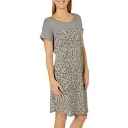 Dept 222 Womens Leopard Print Round Neck T-Shirt Dress
