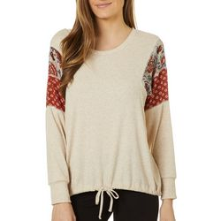Dept 222 Womens Mixed Patchwork Tie Front Long Sleeve Top