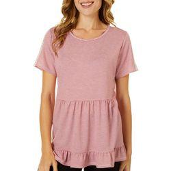 Dept 222 Womens Striped Peplum Ruffle Waist Short Sleeve Top