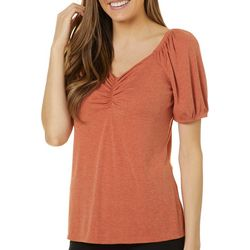 Dept 222 Womens Ribbed Knit Striped Short Sleeve Top