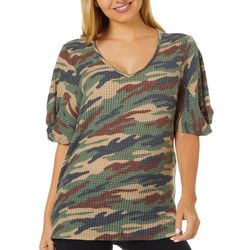 Dept 222 Womens Textured Camo Print Short Sleeve
