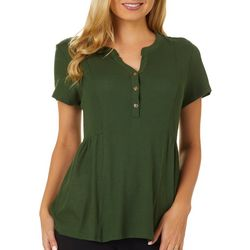 Dept 222 Womens Solid Waffle Textured Short Sleeve Top