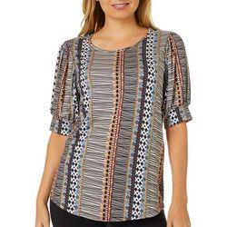 Dept 222 Womens Mixed Print Round Neck Short Sleeve Top