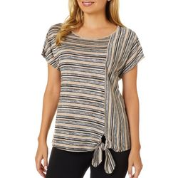Dept 222 Womens Mixed Stripe Tie Front Short Sleeve Top