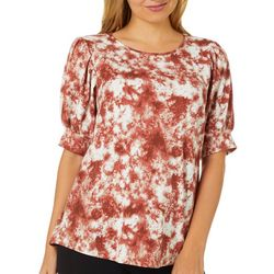 Dept 222 Womens Tie Dye Print Round Neck Short Sleeve Top