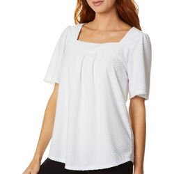Dept 222 Womens Solid Textured Square Neck Short Sleeve Top