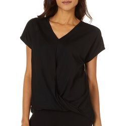 Dept 222 Womens Solid Surplice Short Sleeve Top
