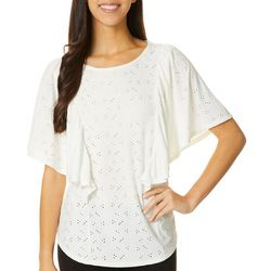 Dept 222 Womens Ruffle Eyelet Short Sleeve Top