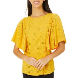 Dept 222 Womens Ruffle Short Sleeve Eyelet Top