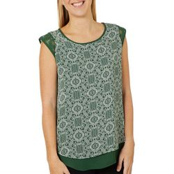 Dept 222 Womens Geometric Crochet Detail Sleeveless Top