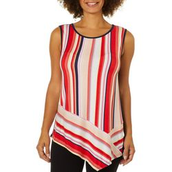 Dept 222 Womens Mixed Stripe Asymmetrical Sleeveless Top