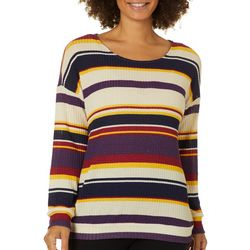 Dept 222 Womens Striped Textured Thermal Long Sleeve Top