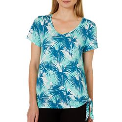 Dept 222 Womens Palm Print Side Tie Top