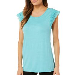 Dept 222 Womens Eyelet Cap Sleeve Top