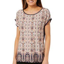 Dept 222 Womens Paisley Damask Short Sleeve Top