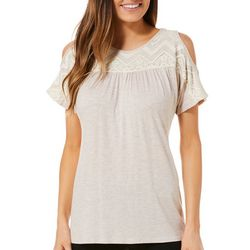 Dept 222 Womens Heathered Lace Cold Shoulder Top
