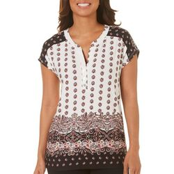 Dept 222 Womens Damask Printed Henley Top