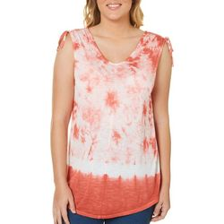 Dept 222 Womens Ruched Shoulder Tie Dye Top