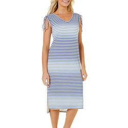 Dept 222 Womens Striped Ruched Sundress