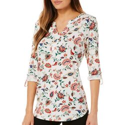 Dept 222 Womens Whimsical Floral Roll Tab Top