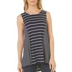 Dept 222 Womens Striped Lace-Up Back Top