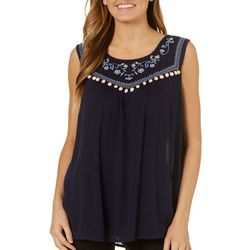 Dept 222 Womens Embroidered Floral Pom Pom Top