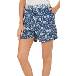 Dept 222 Womens Blue Daze Mixed Floral Pull On Shorts
