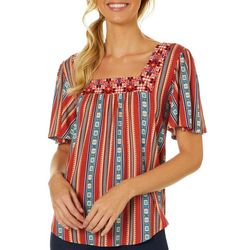 Dept 222 Womens Mixed Stripe Square Neck Short Sleeve Top