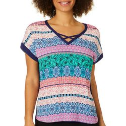 Dept 222 Womens Medallion Print Crisscross Neck Top