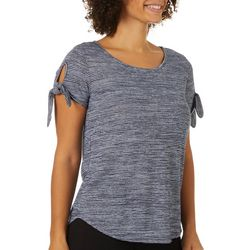 Dept 222 Womens Striped Ribbed Textured Tie Sleeve Top