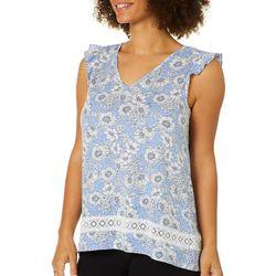 Dept 222 Womens Floral Crochet Ruffle Cap Sleeve Top