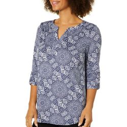 Dept 222 Womens Geometric Medallion Roll Tab Top