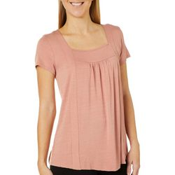 Dept 222 Womens Solid Square Neck Short Sleeve Top