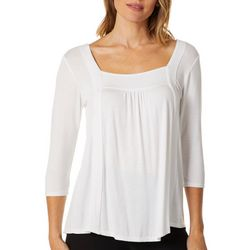 Dept 222 Womens Solid Square Neck Top