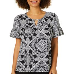 Dept 222 Womens Medallion Diamond Ruffle Sleeve Top