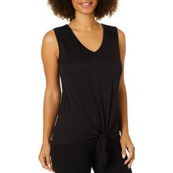Dept 222 Womens Solid Tie Front Sleeveless Top