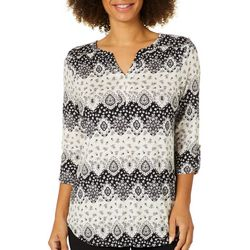 Dept 222 Womens Floral Damask Roll Tab Top