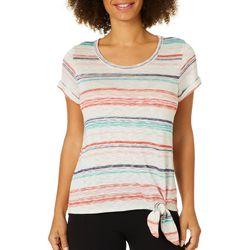 Dept 222 Womens Stripe Lace Back Side Tie Top