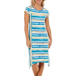 Dept 222 Womens Stripe Lattice Back T-Shirt Dress