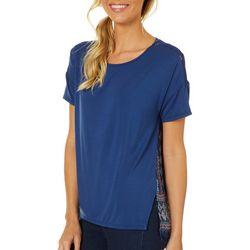 Dept 222 Womens Geometric Woven Back Short Sleeve Top