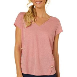 Dept 222 Womens Heathered Button Accent Short Sleeve Top