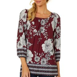 Dept 222 Womens Mixed Floral Geometric Print Top