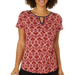 Dept 222 Womens Floral Geometric Print Keyhole Top