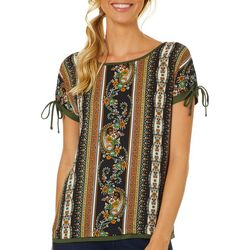 Dept 222 Womens Mixed Paisley Stripe Tie Sleeve Top