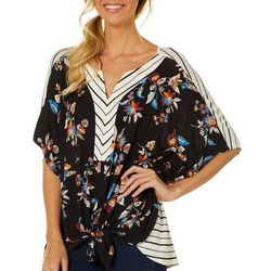 Dept 222 Womens Floral Striped Split Neck Sleeve