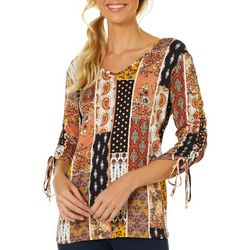 Dept 222 Womens Mixed Print Ruched Long Sleeve