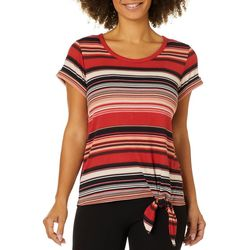 Dept 222 Womens Stripe Lace Panel Tie Front Short Sleeve Top