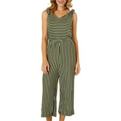 Dept 222 Womens Fireside Shoulder Tie Cropped Jumpsuit